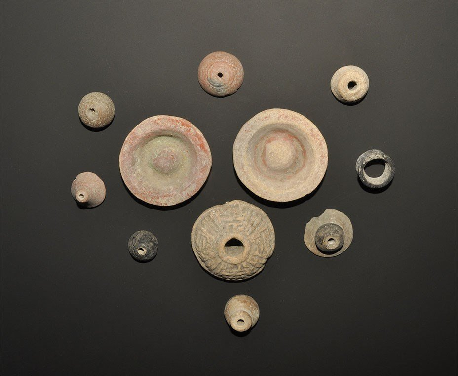 South American Small Ceramic Lid and Whorl Group