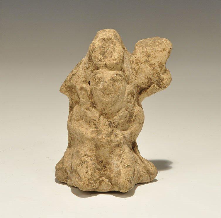 South American Mayan Ceramic Kneeling Warrior Figure