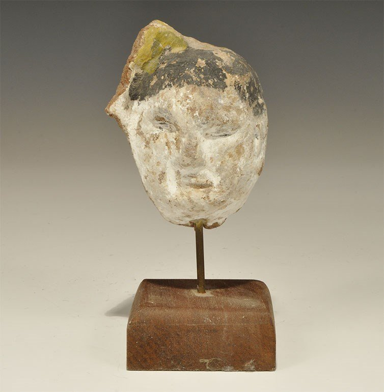 Chinese Ceramic Painted Head with Stand