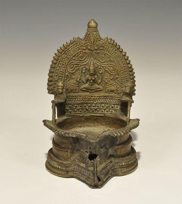 Indian Brass Buddhist Throne Lamp