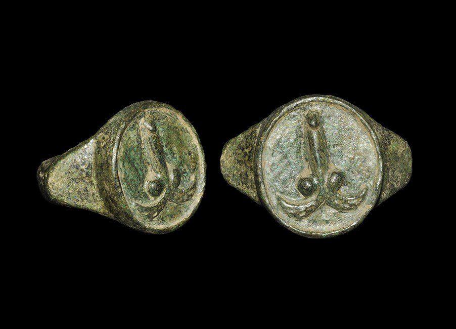 Roman Style Bronze Flying Phallus Finger Ring