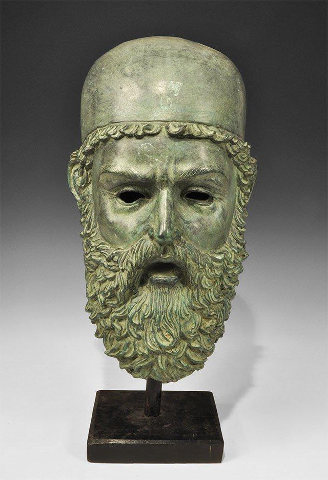 Greek Style Bronze Bearded Head