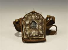 Chinese Style White Metal Reliquary Container in