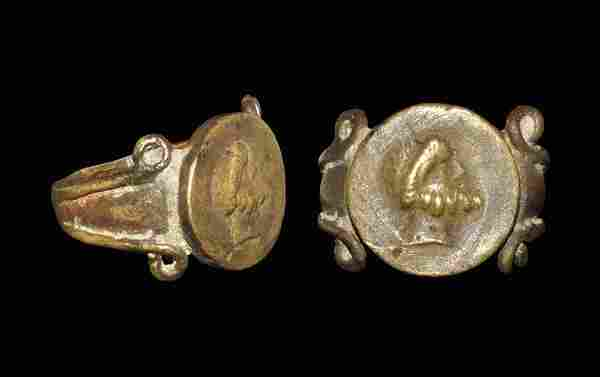 Roman Style Bronze Ring with Bearded Bust