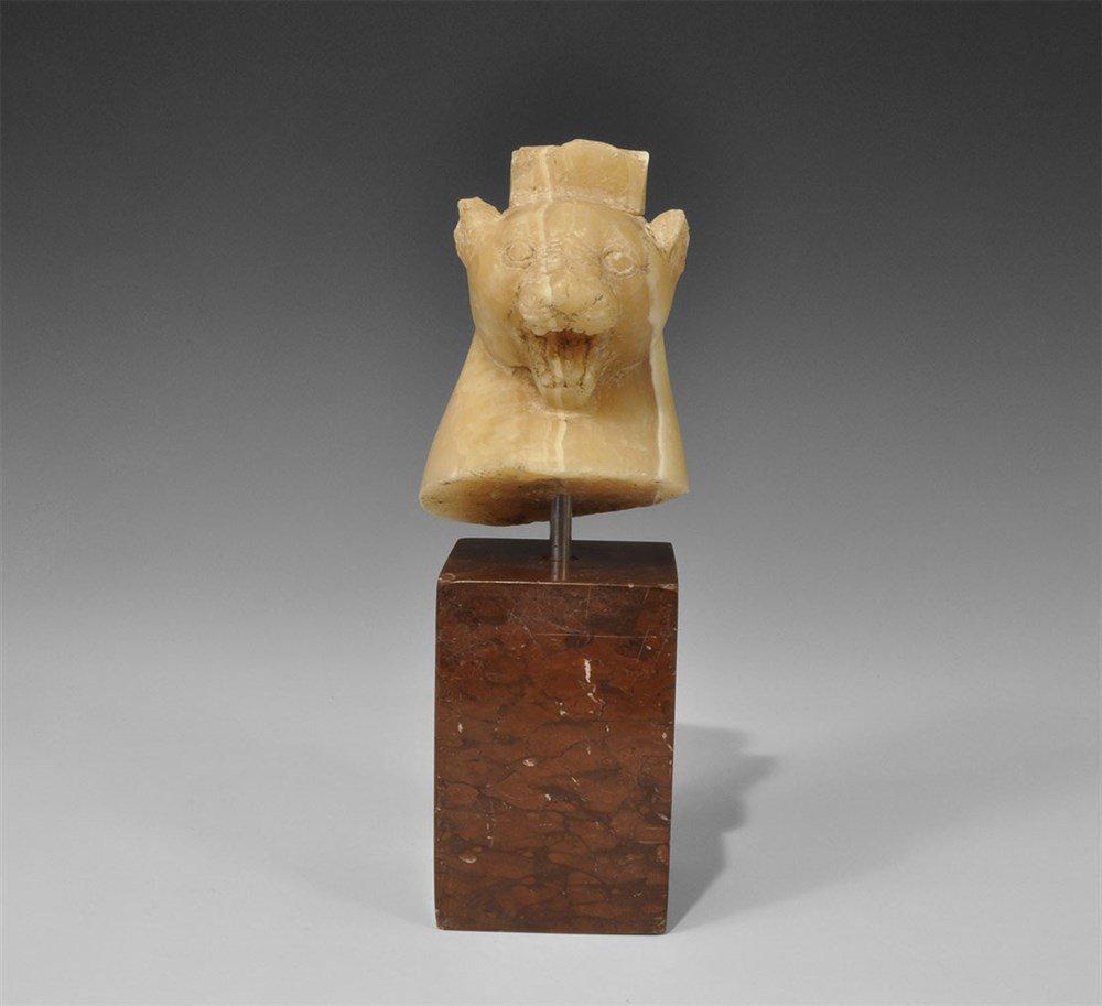 Romano-Egyptian Alabaster Leopard-Head Architectural