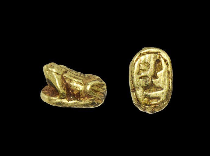 Egyptian Gold Frog Amulet with Hieroglyphic 'Amenhotep'