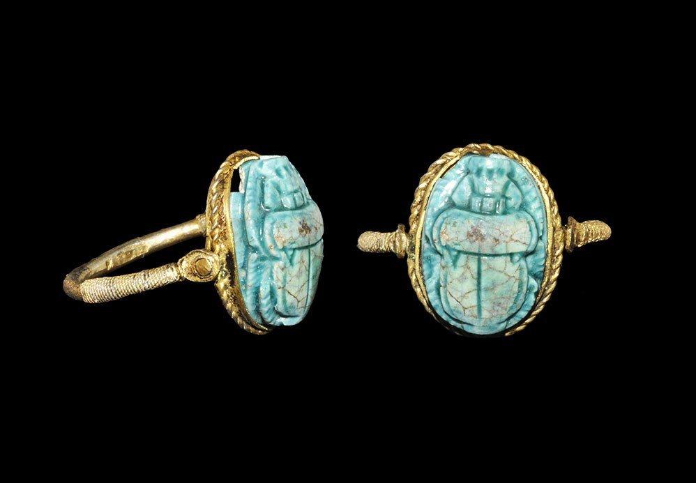 Egyptian Scarab Set into a Silver-Gilt Ring
