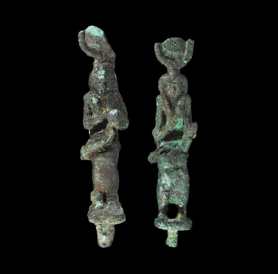 Egyptian Bronze Seated Isis Figurine Group