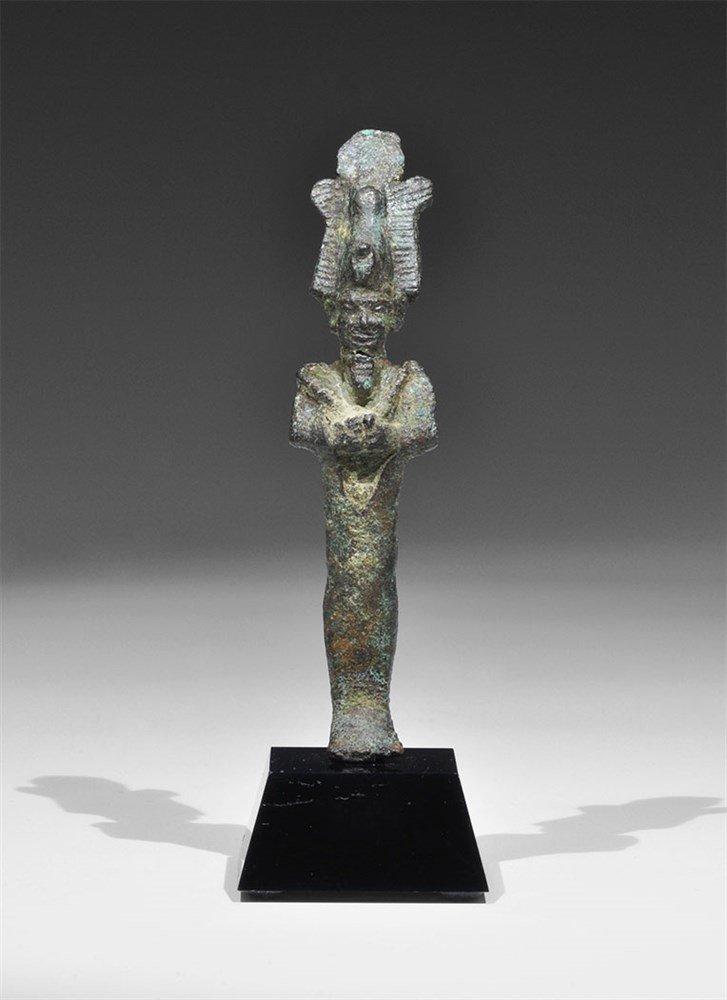 Egyptian Bronze Standing Osiris Figurine
