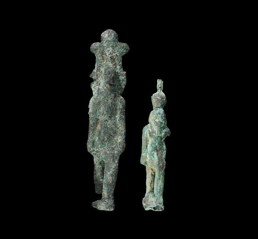 Egyptian Bronze Striding Osiris Figurine Group
