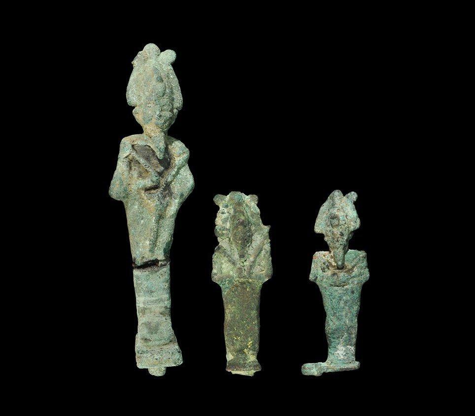Egyptian Bronze Standing Osiris Figure Group