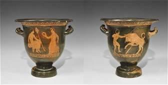 Greek Apulian Blackware Figural Bell Krater