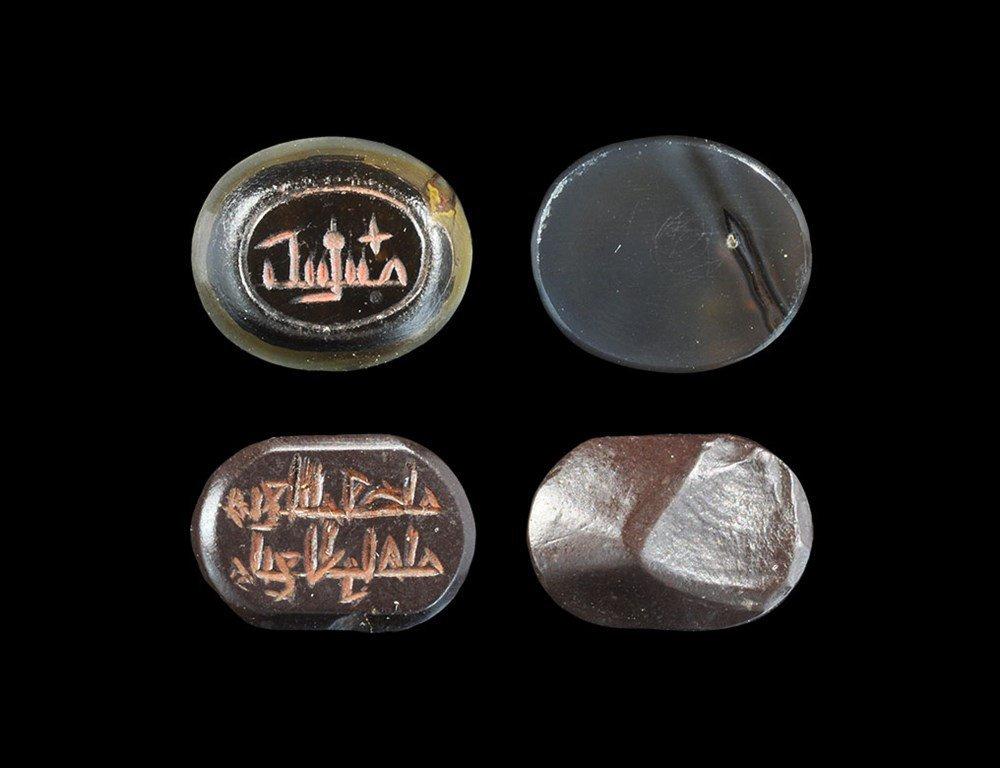 Islamic Carnelian Calligraphic Intaglio Pair