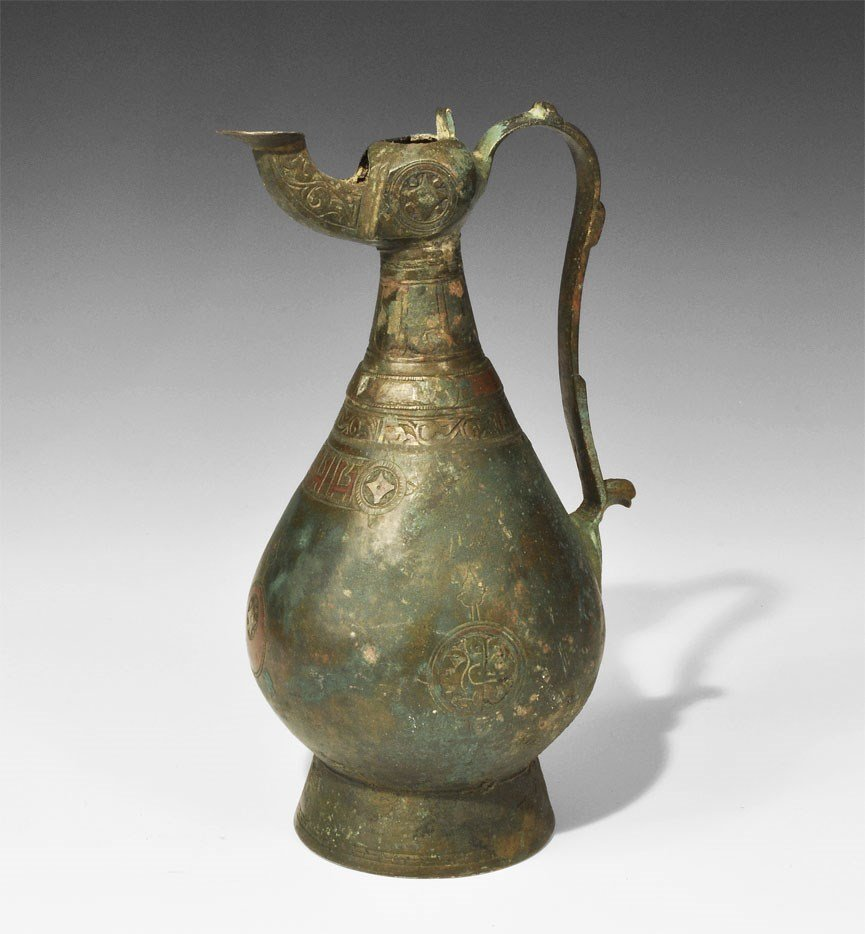 Islamic Seljuk Bronze Ewer with Copper Inlay
