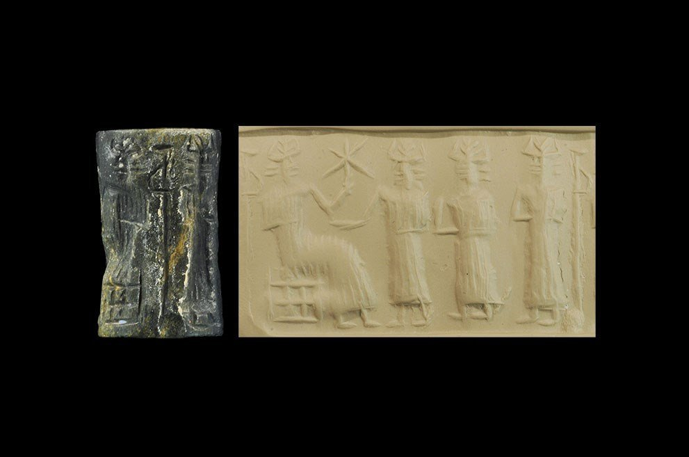 Near Eastern Akkadian Stone Cylinder Seal with Horned
