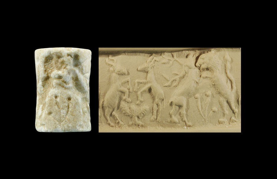 Near Eastern Akkadian Stone Cylinder Seal with Lion