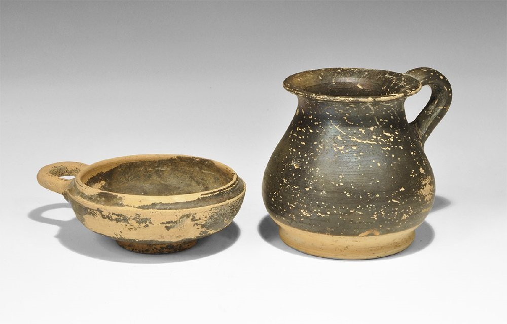 Greek Ceramic Skyphos and Mug Group