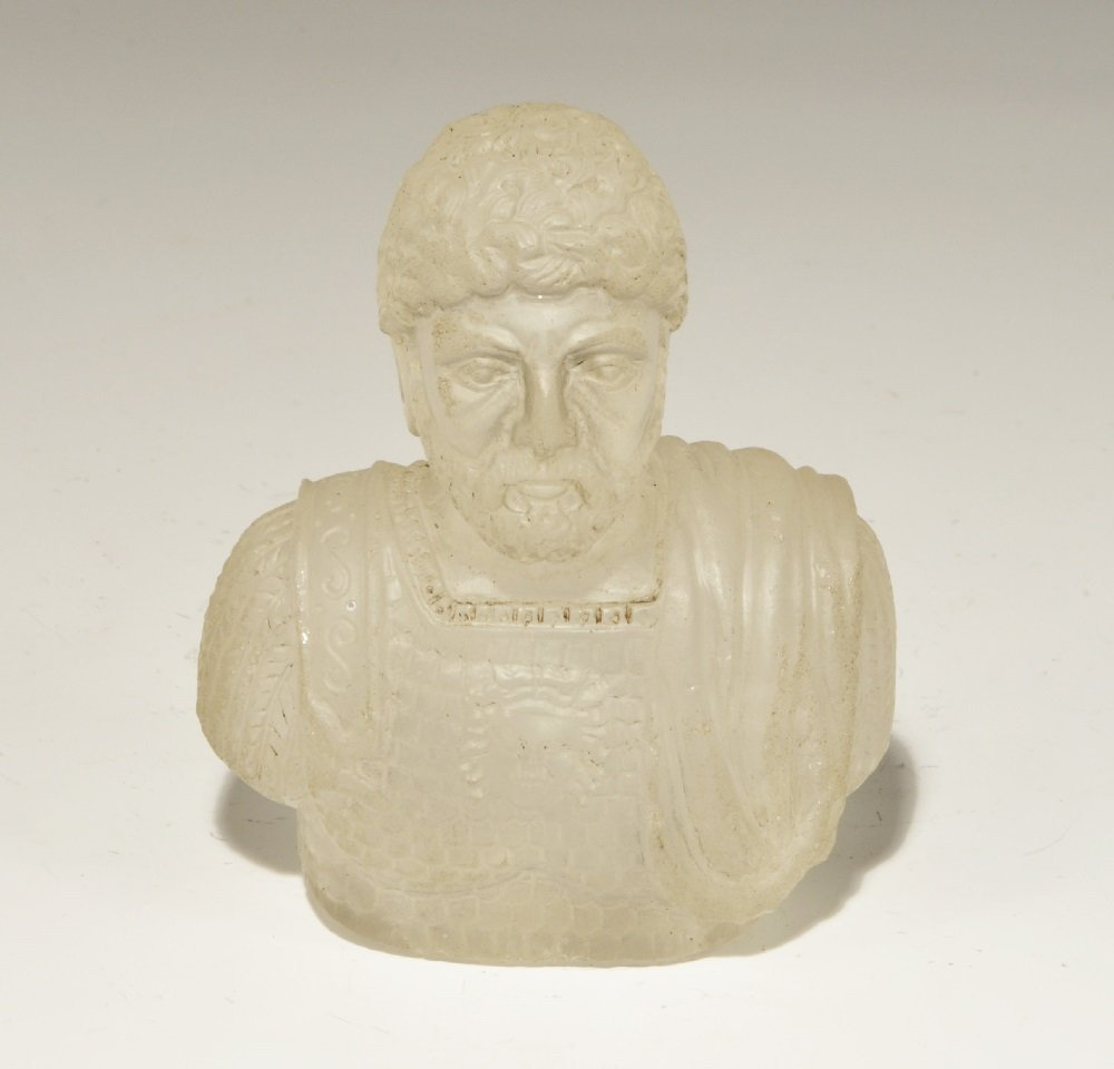 Post Medieval Rock Crystal Roman Military Bust