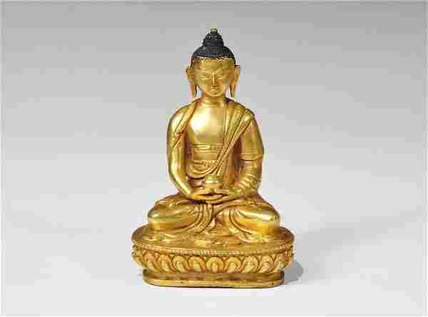 Chinese Tibetan Style Gilt-Bronze Buddha Statuette