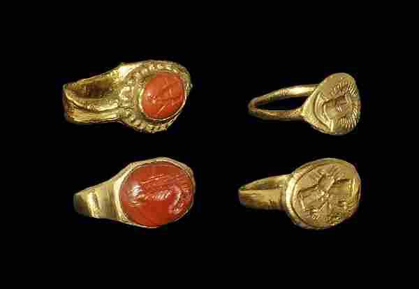 Roman Style Bronze Intaglio Ring Group
