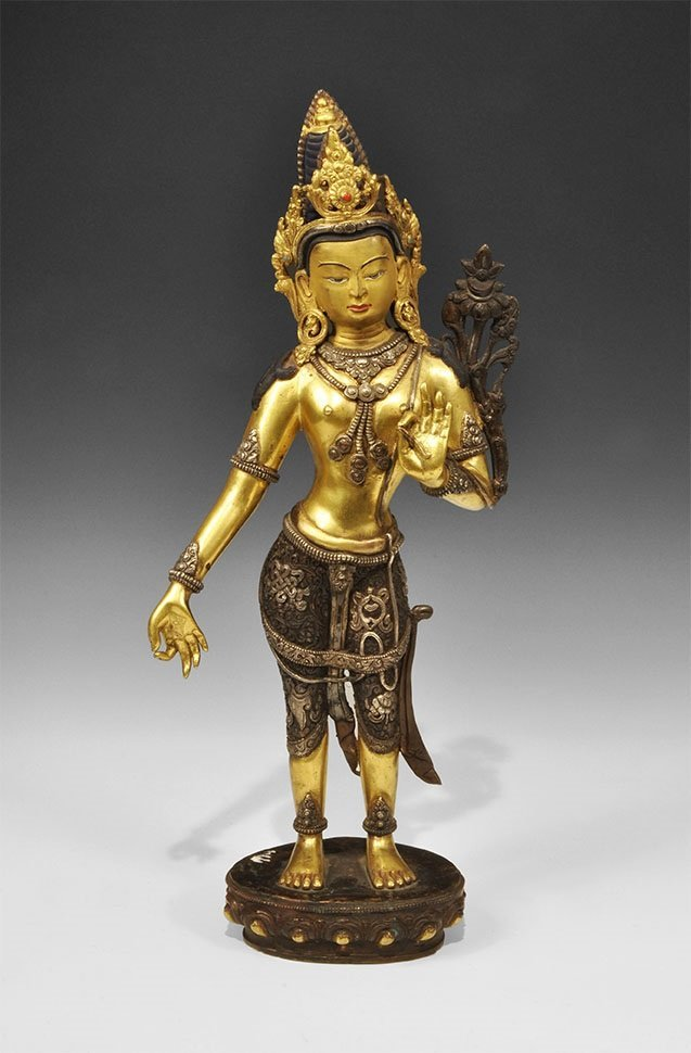 Chinese Tibetan Style Gilt-Bronze with Silver Buddha