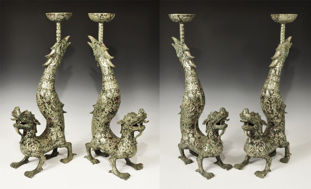 Chinese Style Bronze Dragon Candlestick Pair with