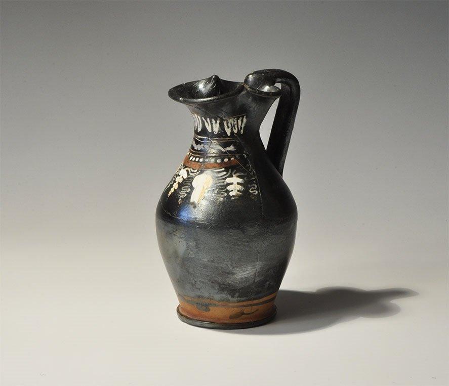 Greek Ceramic Decorated Trefoil Lip Oinochoe