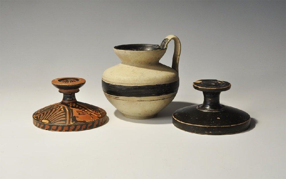 Greek Apulian Ceramic Red-Figure Lekanis with Ladies of