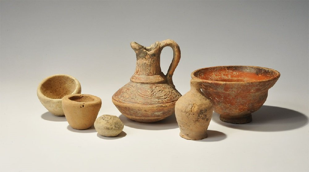 Roman Ceramic Decorated Jug and Pottery Group