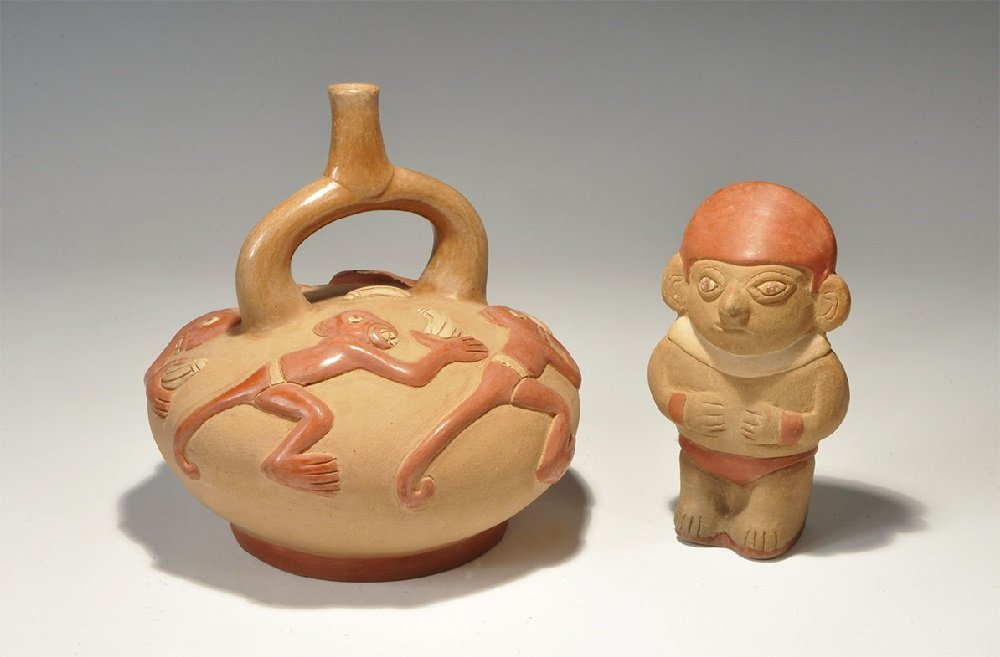 South American Ceramic Water Vessel and Figure Group