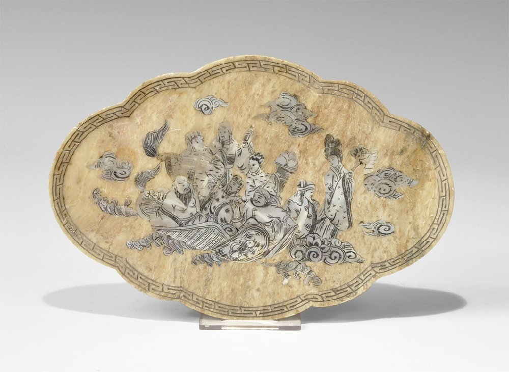 Chinese Stone Plate with Inlaid Mother of Pearl