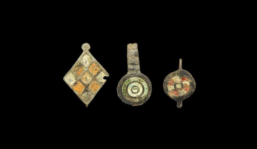 Roman Bronze Enamelled Seal-Box Lid Group