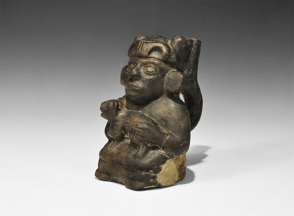 Pre-Columbian Peruvian Ceramic Figural Vessel with