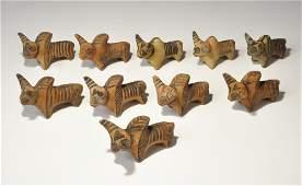Indus Valley Style Ceramic Bull Figurine Group