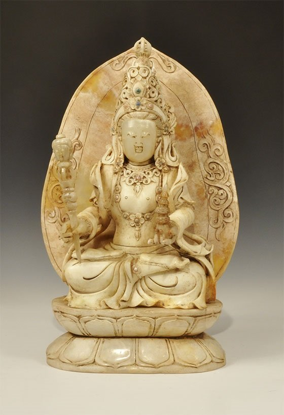 Chinese Style Faux-Jade Carved Buddha Statuette