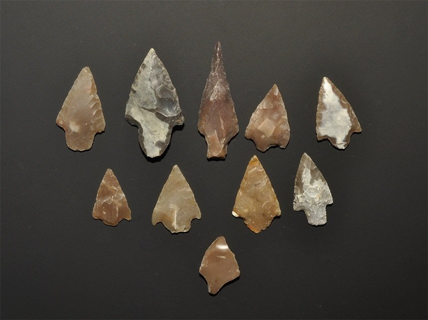 Stone Age Barbed and Tanged Arrowhead Group