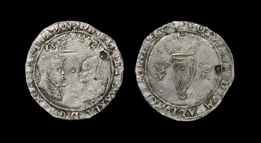 Irish Tudor Hammered Coins - Phillip and Mary - 1556 -