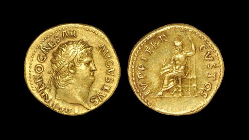 Ancient Roman Coins - Nero - Jupiter Gold Aureus