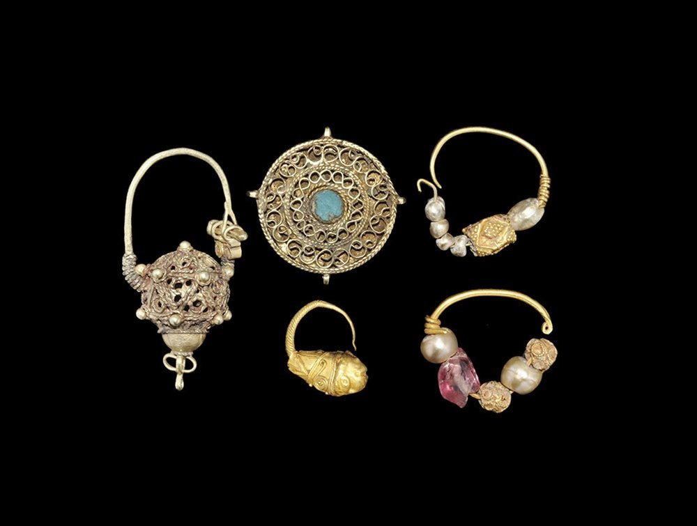 Near Eastern Gold Earring and Pendant Group