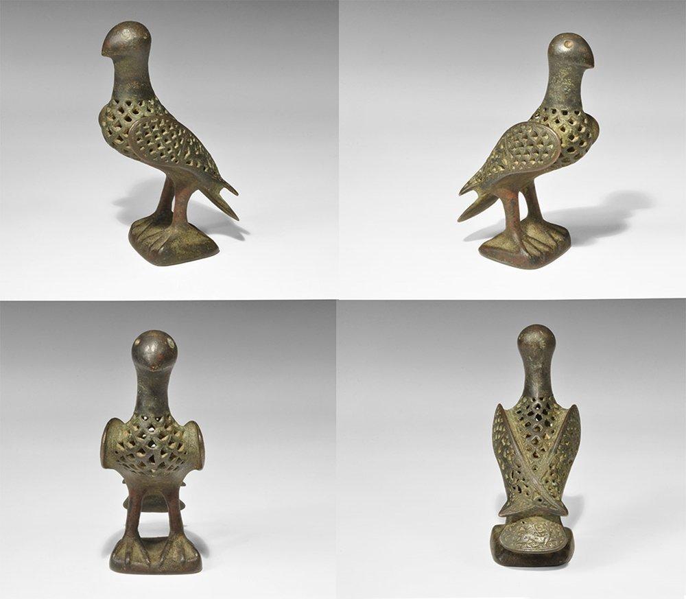 Islamic Bronze Openwork Bird Statuette
