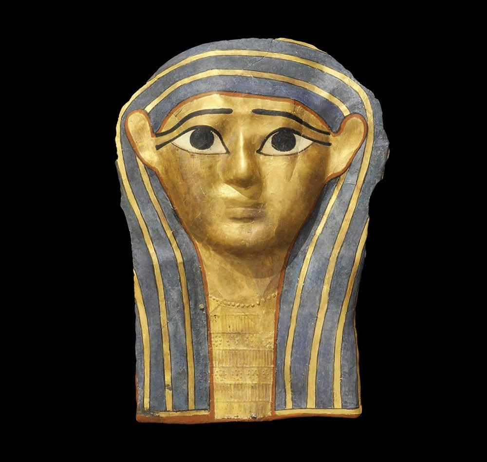 Egyptian Gilt Cartonnage Mummy Mask