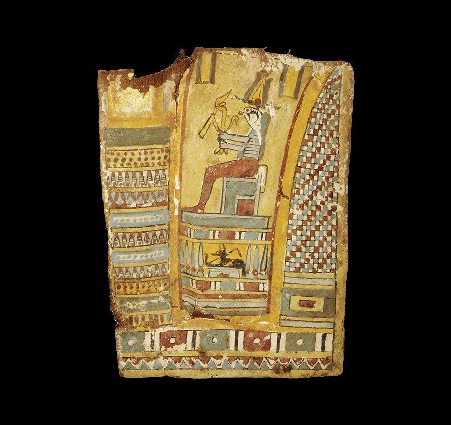 Egyptian Cartonnage Panel with Horus