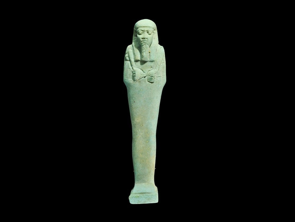 Egyptian Blue Glazed Composition Shabti