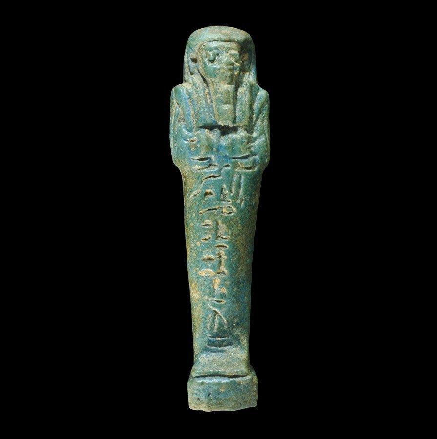 Egyptian Glazed Composition Impressed Shabti