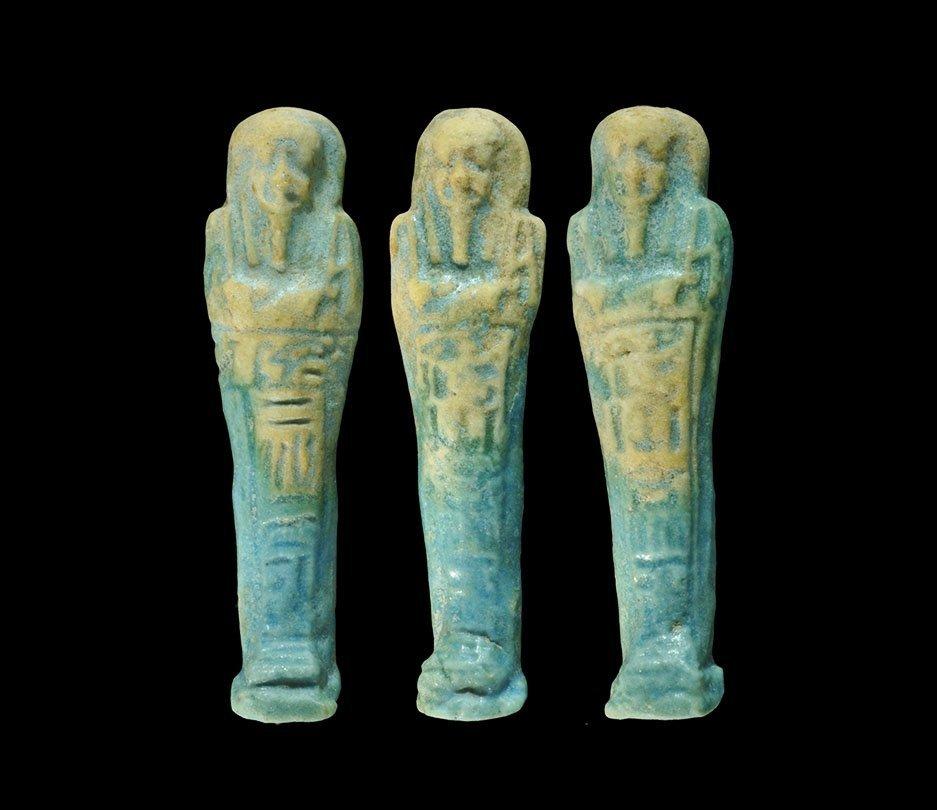 Egyptian Glazed Composition Shabti Group