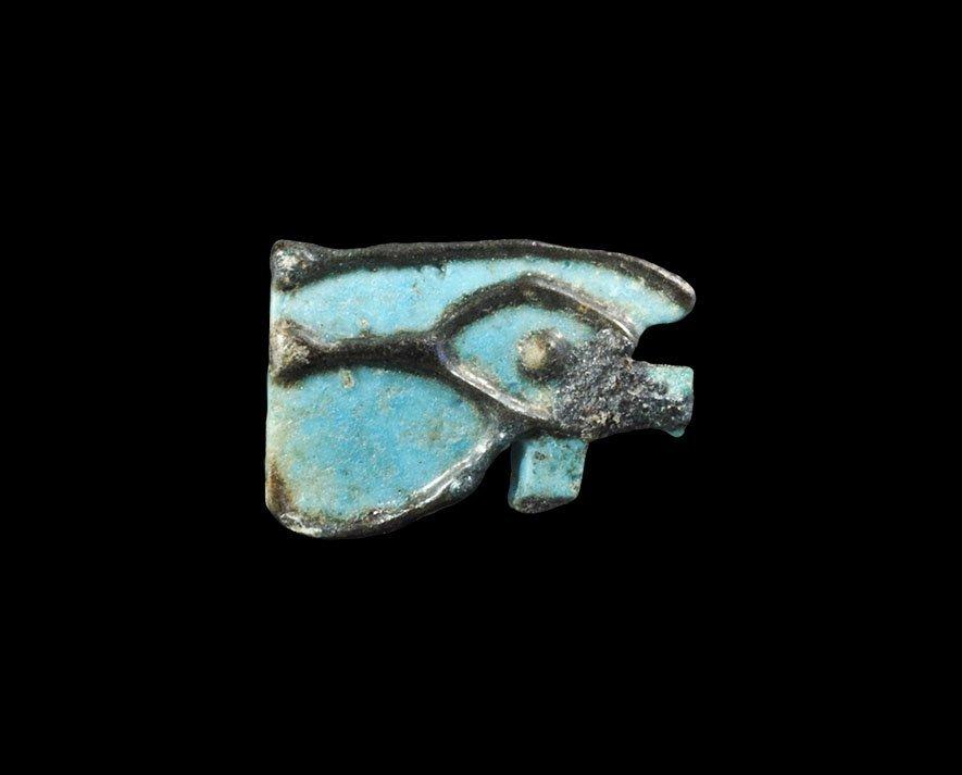 Egyptian Glazed Composition Wedjat Eye Amulet