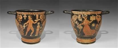 Greek Apulian Ceramic Figural Skyphos