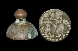 Near Eastern Sassanian Bronze Office Stamp Seal