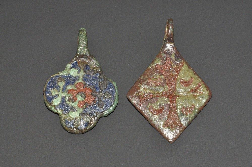 Medieval Bronze Enamelled Harness Pendant Group