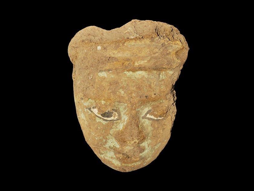 Egyptian Baked Clay Mummy Mask